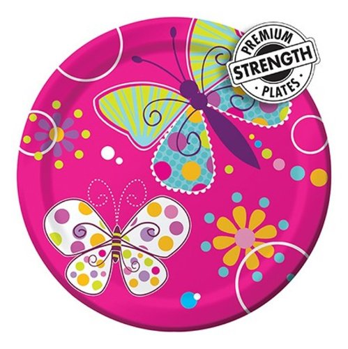 8-Count Round Paper Dessert Plates, Butterfly Sparkle]()