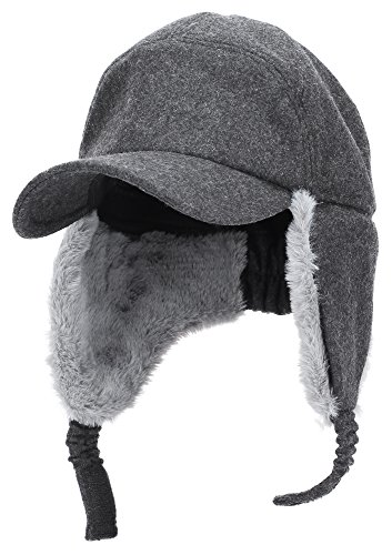 Womens Mens Winter Warm Premium Wool Woolen Peaked Baseball Cap with Faux Fur Fold Earmuffs Earflap Waterproof Hat Visor Cap, Multicolor (Fold Down Earflaps)