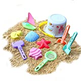 Zooawa Beach Sand Toy Set for Kids, Beach Bucket Sand Models Play Kits Summer Playing Molds Pail Sets Include White Bucket, Rake, Shovels, Sand Models, Colorful
