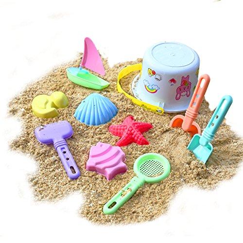 Zooawa Beach Bucket Set, Kids Beach Sand Toy Set, 12 Piece Toddlers Sand Playing Pail Sets Include White Bucket, Rake, Shovels, Sand Models, Colorful