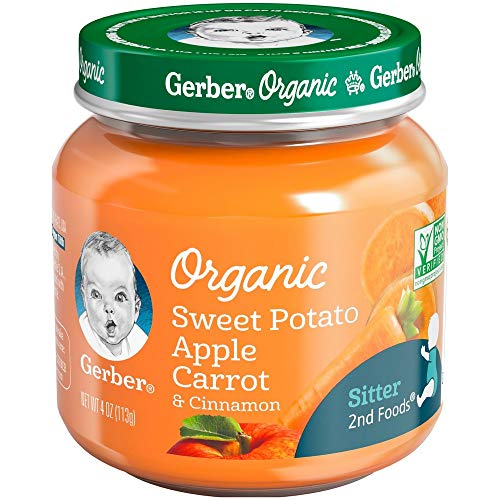 Gerber Organic 2nd Foods Baby Food Apple Sweet Potato & Carrot with Cinnamon (Pack of 4) ()