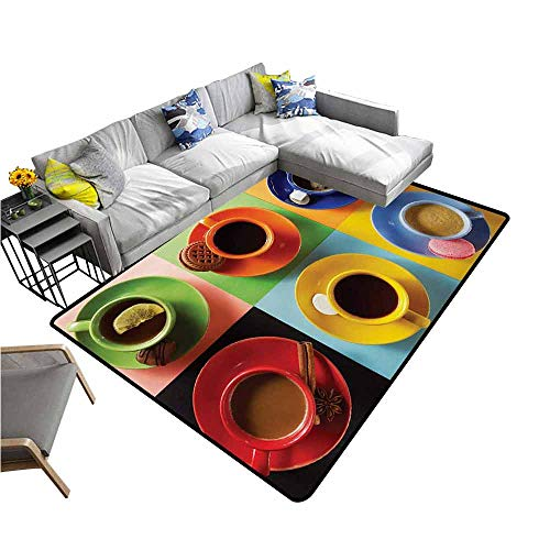 Indoor/Outdoor Rubber Mat Kitchen,Cups of Coffee Tea Hot Chocolate on Colorful Background with Tasty Deserts Biscuits,Multicolor 80