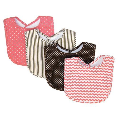 Pink Cocoa Dot (Trend Lab Cocoa Coral Bib Set, Coral Pink, 4 Count)