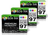 ECO INK © Compatible / Remanufactured for HP 97 C9363WN (3 Color) Ink Cartridges for HP PhotoSmart 2600, 335xi, 428, 8150xi, 2608, 337, 428v, 8157, 2610, 375, 428xi, 8158, 2610v, 375B, 475, 8450, 2610xi, 375v, 475v, 8450v, 2613, 375vi, 475xi, 8450w, 2700,