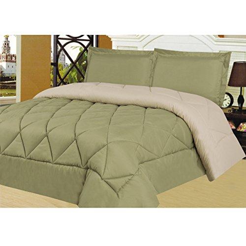 n 3 Piece Reversible Two Tone Microfiber Down Alternative Comforter Set with Pillow Shams, King, Sage/Cream (Green King Comforter Set)