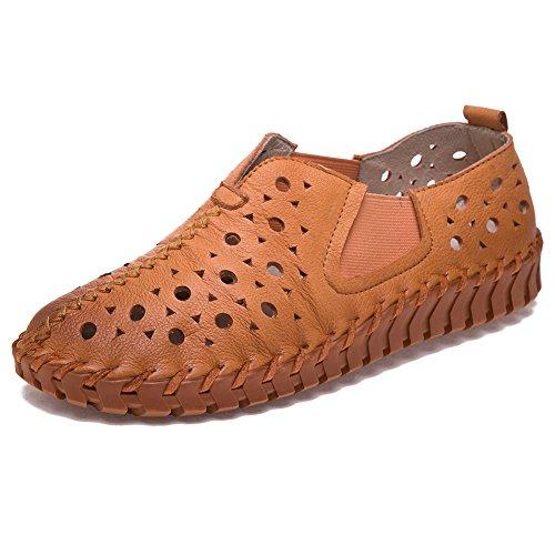Shenn Kvinnor Slip-on Platta Ihåliga Casual Läder Ganska Mode Sneakers Solbränna