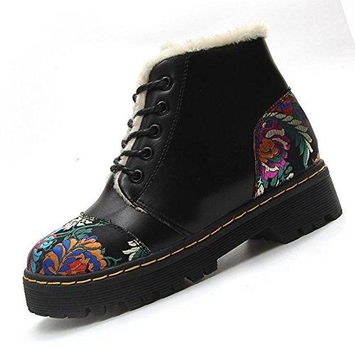 ZHZNVX HSXZ Zapatos de Mujer Invierno PU Botas Botas de Combate bajo el Talón Puntera Redonda Mid-Calf Botas para Casual Negro,Negro,US5.5/UE36/UK3.5/CN35 36 EU