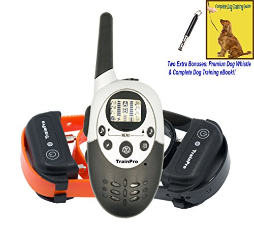 TrainPro M86 Dual 1100 Yard Shock Collars for Dog Training. Improve Behavior or!! SAFETY Control with 8 Adjustable Levels. Great for OPEN FIELD Adventures. Guaranteed for Bark Control!