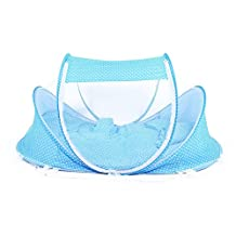 NEWBEN Portable Baby Travel Bed - 5PCs Foldable Baby Mosquito Net Cots Newborn Folding Camping with Pillow and Cushions (BLUE)