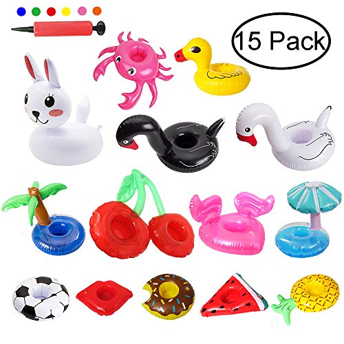 - Angela&Alex Inflatable Drink Holders 15 PCS Drink Floats Beverage Cup Coasters for Pool Beach Party Supplies Favors Kids Bath Toys Swan Crab Pineapple Palm Tree Watermelon Rabbit Hot Tub Accessories