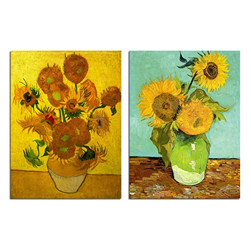 Van Gogh Sunflower Wall Decor - Canvas Art Picture Home Decoration Abstract Vase Flowers Oil Painting Reproduction Floral Giclee Print Living Room Kitchen Bedroom Artwork 2 Piece Unframed -