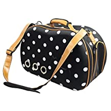 Pet Life Dotted Venta-Shell Perforated Collapsible Military Grade Designer Fashion Travel Pet Dog Carrier, Navy Blue and White, One Size