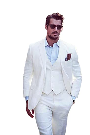 0df8b4ff355 Yanlu Ivory Summer Beach Wedding Suits 3 Pieces Men Suits Groom Tuxedos 2  Buttons - Beige -  Amazon.co.uk  Clothing