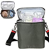 Biubee Insulated Bottle Tote Bag Breast Milk Baby Cooler Bag Storage with Adjustable Shoulder Strap Preserve Important Nutrients for Your Baby (Olive green)
