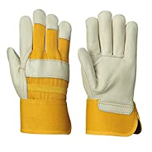 Pioneer V5020200-O/S Women Leather Work Glove,  Cowgrain One-Piece Palm, Yellow (Pack of 12)