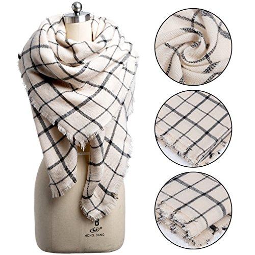 t Scarf Winter Tartan Scarves Warm Cozy Pashmina Wrap Shawl for Women (Beige) (Super Soft Scarf)