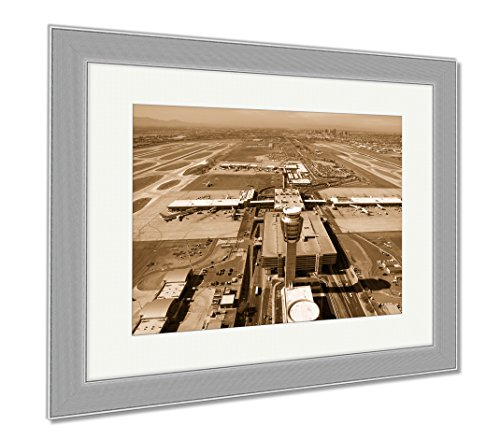 Ashley Framed Prints Sky Harbor Airport And Control Tower, Wall Art Home Decoration, Sepia, 34x40 (frame size), Silver Frame, - Harbor Shops Sky Airport