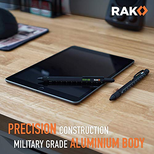 RAK Multi-Tool 2Pc Pen Set – LED Light, Touchscreen Stylus, Ruler, Level, Bottle Opener, Phillips Screwdriver, Flathead…
