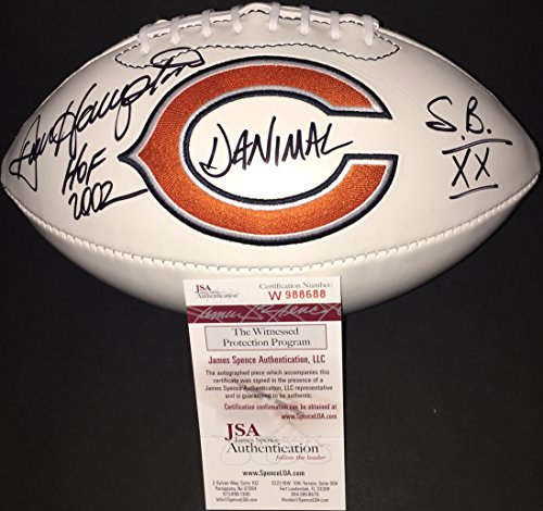 Dan Hampton Chicago Bears Signed Autographed White Football THREE INSCRIPTIONS HOF 2002 Danimal & SBXX JSA WITNESS - Memorabilia Inscription