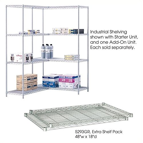 Metallic Shelving Unit (Safco Products 5293GR Industrial Wire Shelving Extra Shelf Pack 48