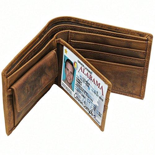 YaJaMa Echtleder Retro Herren Geldbörsen Geldbeutel Geldetui Tasche Kreditkartenhüllen Kartenetui Kartenmappe Münzbörse
