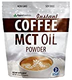 MCT Oil Powder + Instant Colombian Coffee – No Creamer Needed, It's Ready Now – Great for Keto Diet – Natural Energy Supplement with Fiber – Perfect for Exercise or Workout – 6 oz