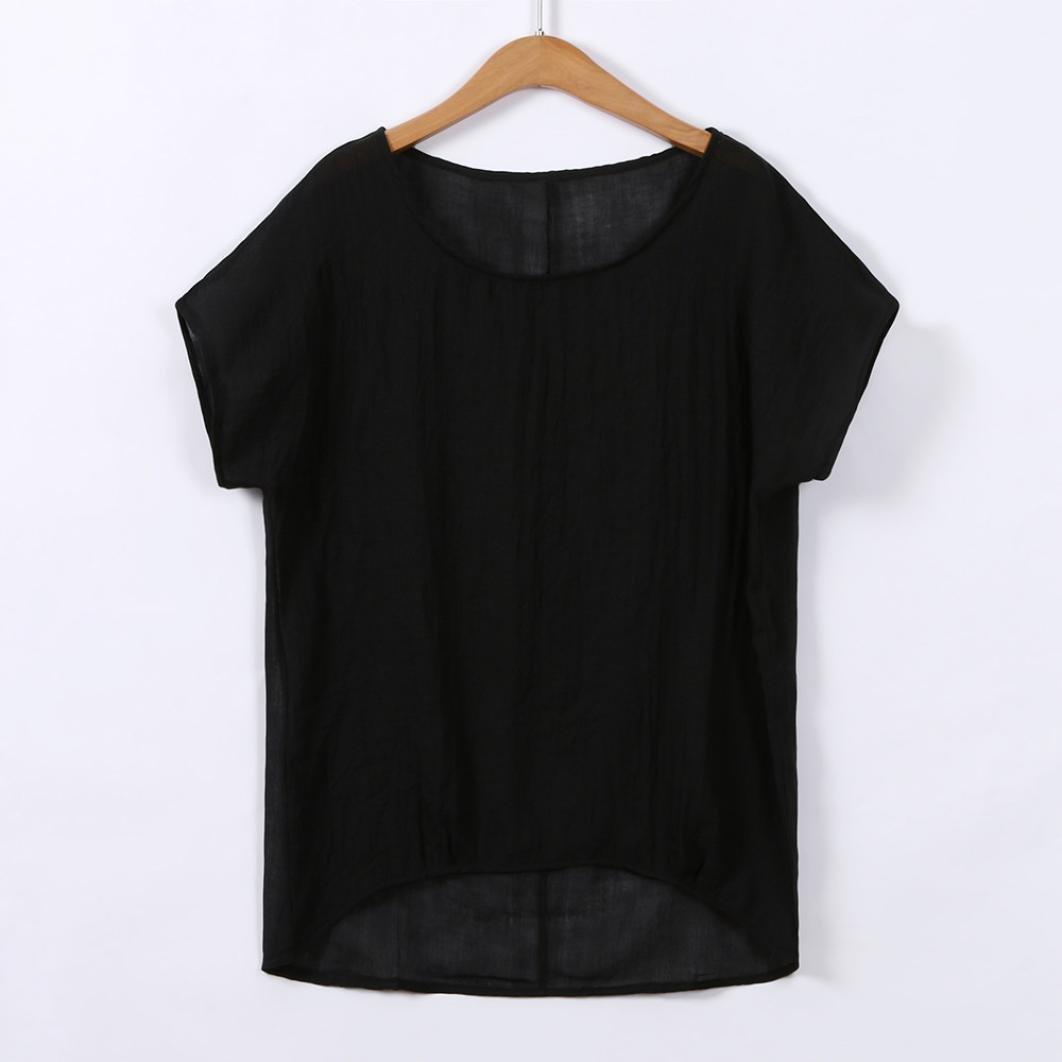 7d3227ed416 Women Plus Size Short Sleeve Linen Shirt Casual Oversized Baggy Top   Clothing