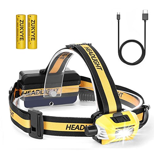 CREE LED Headlamp Flashlight, Zukvye 5000 Lumen Super Bright Headlamps, Zoomable Waterproof Headlight Rechargable 18650 Battery Best for Running, Camping, Fishing,Night Reading and DIY Works