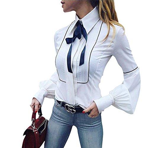 YVYVLOLO Womens Elegant Bow Tie Blouse White Casual Shirts Long Sleeve Slim Tops