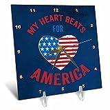 3dRose Andrea Haase Patriotic Art - Heart Beats For America Patriotic 4th July Art On Blue - 6x6 Desk Clock (dc_282599_1)