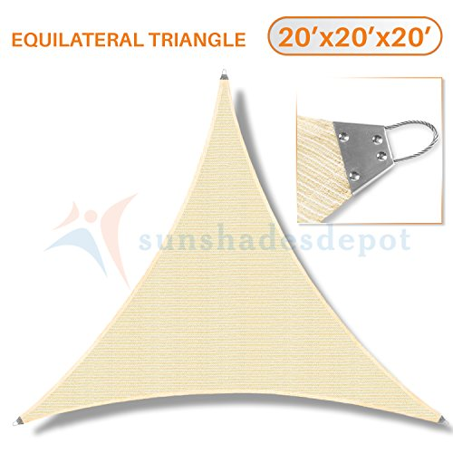 Sunshades Depot 20'x 20' x 20' Reinforcement Large Sun Shade Sail Beige Equilateral Triangle Heavy Duty Metal Spring Outdoor Permeable UV Block Fabric Durable Steel Wire Strengthen 160 GSM by Sunshades Depot