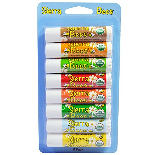 Sierra Bees Organic Lip Balms Combo Pack 8 Pack 15 oz 4 25 g Each (Lip Balm Honey Real)