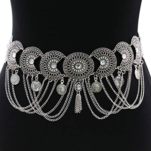 - JETEHO Vintage Silver Waist Chain Women Rhinestone Crystal Body Chain Summer Beach Body Waist Chain Jewelry