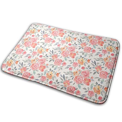 Amelia Floral in PinkPeach Watercolor Cream Version Carpet 15.7