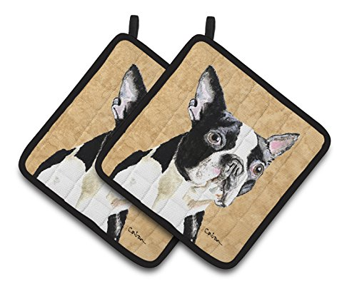 Caroline's Treasures Boston Terrier Wipe Your Paws Pair of Pot Holders SC9140PTHD, 7.5HX7.5W, Multicolor - Boston Terrier Artwork