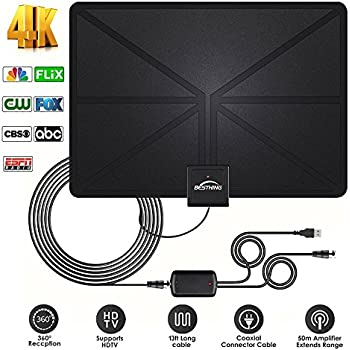 ... Amplified HDTV Antenna 60 Mile Range Support 4K 1080p, VHF UHF Freeview Channels With Detachable Amplifier, Power Adapter and 13.2ft Longer Coax Cable