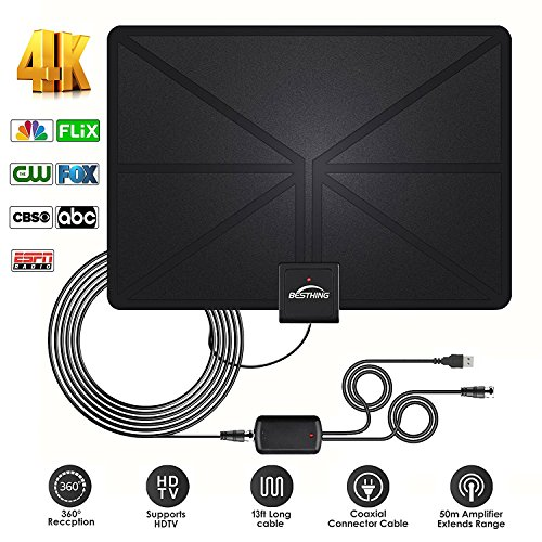 HD Digital TV Antenna - Best Amplified HDTV Antenna 60 Mile Range Support 4K 1080p, VHF UHF Freeview Channels With Detachable Amplifier, Power Adapter and 13.2ft Longer Coax Cable by Amzgrace