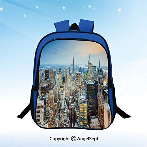 (Kids' Preschool and Kindergarten Backpack New York City Aerial with Skyscrapers Manhattan Urban Architecture Panorama for Boys and Girls,Silver Blue Peach)