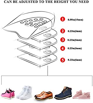 5-Layer Heel Insert Increase Taller Height Lift Men Women Shoes Insole Silicone