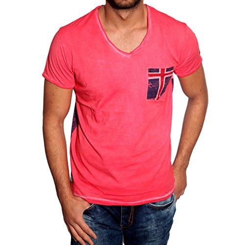 T-Shirt Poloshirt Shirt für Herren Männer Jungs Jungen A16641RN, Größe:XL, Farbe:Rot