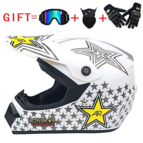 WWQY Adult Sport Off-Road Dirt Bike Motocross Helmet MX Motorcycle Helmet ATV Scooter ATV Helmet D.O.T Certified Rockstar (Free Goggles + Gloves + Masks),D,M (Rockstar Dirt Bike Helmets)