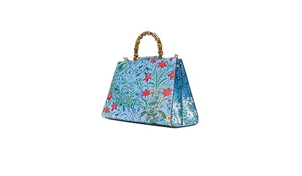 4d4dc35ae4fe Amazon.com: Gucci Flora Azure Shanghai Blue Large Floral Handbag Italy Bag  Handbag Flower Bamboo New: Clothing