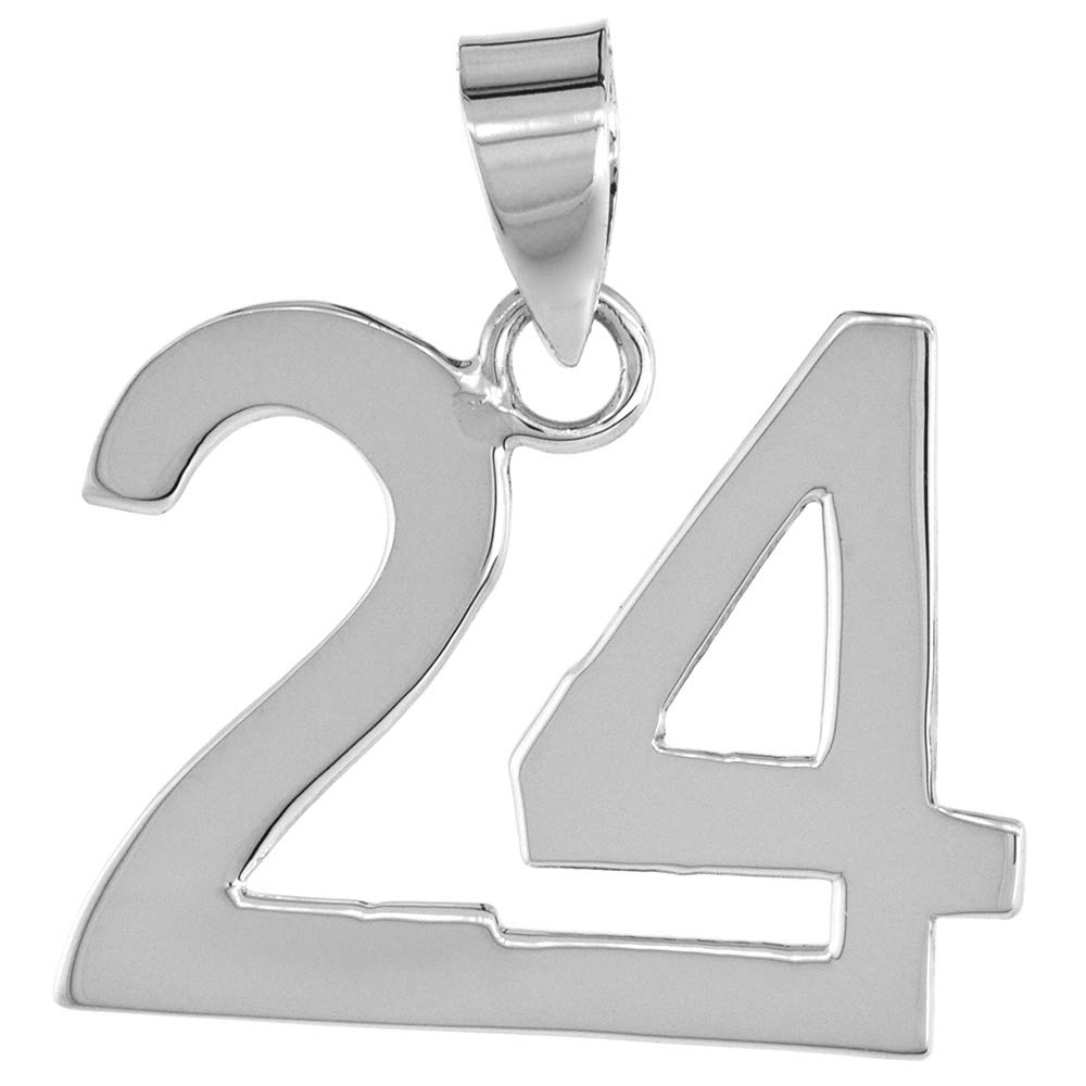 Sterling Silver Number 24 Necklace for Jersey Numbers /& Recovery High Polish 3//4 inch 2mm Curb Chain