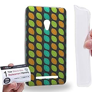 Case88 [Asus Zenfone 5] Gel TPU Carcasa/Funda & Tarjeta de garantía - Art Fashion Leaf Trend Grey Background Art1306