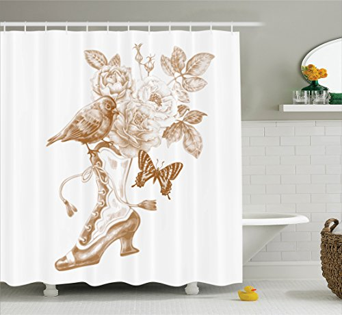 Ambesonne Victorian Decor Shower Curtain Set, Nostalgic Boots with Roses Butterfly and Bird British Trend Upper Class Shoe Art Work, Bathroom Accessories, 69W X 70L Inches, Brown White