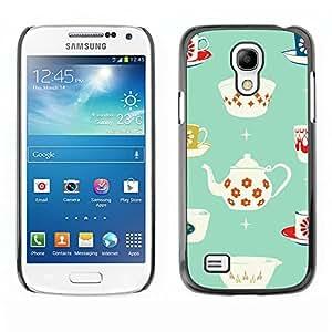 TopCaseStore / la caja del caucho duro de la cubierta de protección de la piel - Tea Cup Porcelain Minimalist Pattern - Samsung Galaxy S4 Mini i9190 MINI VERSION!