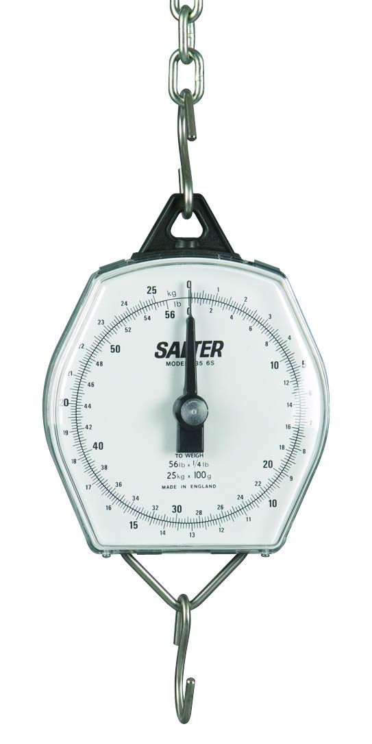 Salter Brecknell 235-6S-22/10 Dual-Marked Mechanical Hanging Scale, 22 lb Capacity, 2oz Increments, Corrosion Resistant
