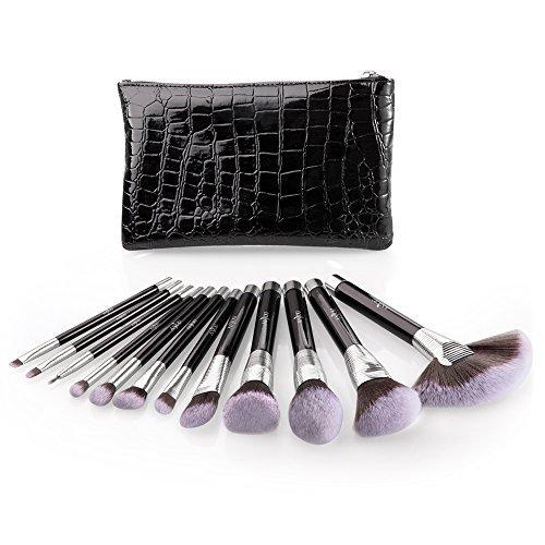 Makeup Brush Set, Anjou 12pcs Essential Cosmetic Brushes for Foundation Blush Contour Concealer Highlight Eyeliner Eye...