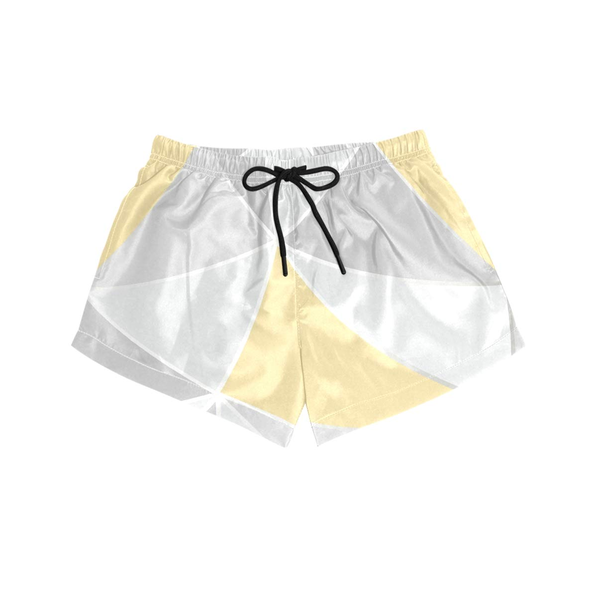 NWTSPY Grey and Yellow Triangle Womens Sport Beach Swim Shorts Board Shorts Swimsuit with Mesh Lining