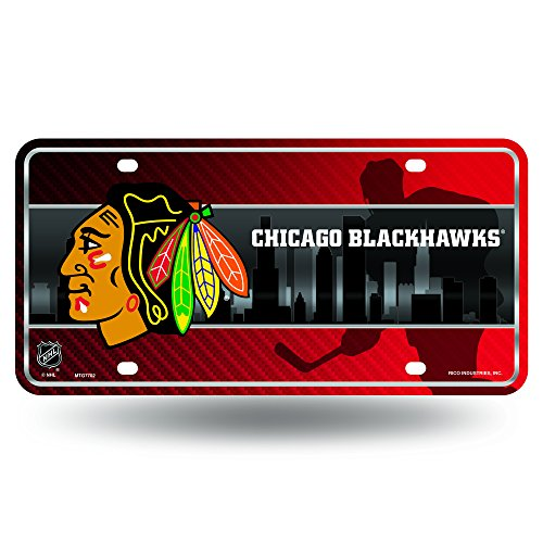 (NHL Chicago Blackhawks Metal License Plate Tag)